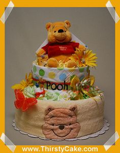 "http://cakedecoratingcoursesonline.com/cake-decorating/ "" WINNIE THE POOH "" Diaper cakes - baby shower gifts. Looking for #Best #Baby #Shower #Cake? - Learn How to #Decorate Cakes - Visit Online Cake Decorating Classes on http://CakeDecoratingCoursesOnline.com"