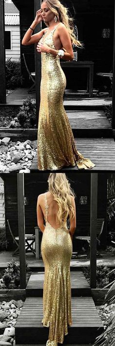 Mermaid V-Neck Backless Gold Sequined Prom Dress with Appliques M2548