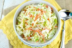 This is an amazing copycat version of the famous KFC Coleslaw Recipe. It's sweet, a little tangy and fabulously creamy! My all-time favorite coleslaw recipe ~ KFC copycat (? Soup And Salad, Copycat Kfc Coleslaw, Great Recipes, Favorite Recipes, Top Recipes, Kentucky Fried, Restaurant Recipes, Dips, Vegetables