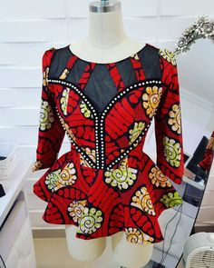 Collection of the most beautiful and stylish ankara peplum tops of 2018 every lady must have. See these latest stylish ankara peplum tops that'll make you stun African Blouses, African Tops, African Dresses For Women, African Print Dresses, African Attire, African Wear, African Women, African Prints, African Fashion Ankara