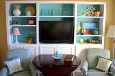 For the next house: TV entertainment area made out of base kitchen cabinets....