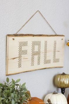 """Wood Plank Cross-Stitch """"FALL"""" Decor --- Make It and Love It"""