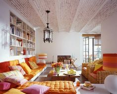Living Room, colorful, bright, exotic, orange, ceiling, lantern, banquette, tufting, built-in