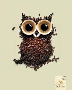 haha wat een combo! een koffie uil! cool!