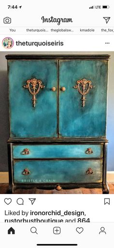 blue painted cabinet - the turquoise iris - painted furniture
