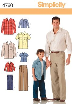 Boys and Mens Pants and Shirt Sewing Pattern 4760 Simplicity; boys sizes s-l (up to 27 inch chest)