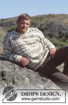 "Erikson - DROPS ladies or men's jumper with pattern borders in ""Karisma"" - Free pattern by DROPS Design Drops Karisma, Garnstudio Drops, Sweater Knitting Patterns, Knit Patterns, Free Knitting, Drops Design, Ugly Sweater, Men Sweater, Ravelry"