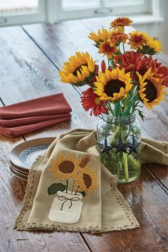 Sunflower Blooms Decorative Dishtowel from Country Porch Home Decor. This towel is also a great accent piece for your kitchen island or sofa table.