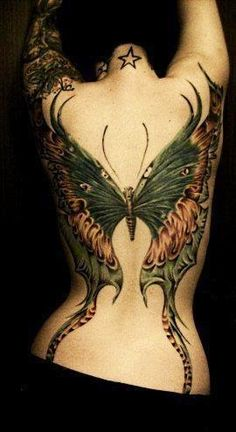 Tattoo back piece butterfly tattoo This is beautiful!