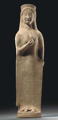 Greek terracotta Kore, Archaic period, ca. late 6th-early 5th century BCE