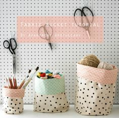 Fabric buckets tutorial - Apartment Apothecary If you enjoy arts and crafts an inidual will love this cool website!  sc 1 st  Pinterest & Fabric Basket tutorial - great for organizing everything! Add ...
