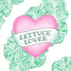 Lettuce Lover. A pencil illustration by Martina Scott.