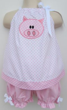 Little Piggy Dress and Bloomers Set by AmybugsOriginalStyle. $30.00, via Etsy.