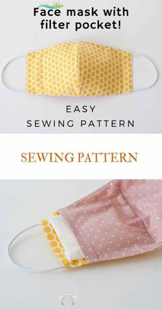 Face Mask Sewing Pattern PDF Mask with filter pocket Washable Reusable Mask Dust mouth Mask Beginner project DIY mask for kids man woman<br> Easy Face Masks, Diy Face Mask, Homemade Face Masks, Facemask Homemade, Sewing Hacks, Sewing Tutorials, Sewing Tips, Beginner Sewing Projects, Sewing Ideas For Beginners