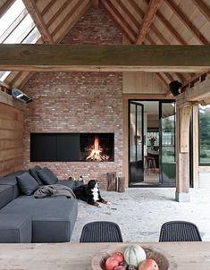Cozy Corner Fireplace Design Ideas in the Living Room Future House, Exterior Design, Interior And Exterior, Living Divani, Living Room, Pool Houses, Outdoor Rooms, Outdoor Living, Indoor Outdoor