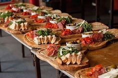 Charcuterie boards with meat, bread, arugula, cheese and something pickled! ~ we ❤ this! moncheribridals.com