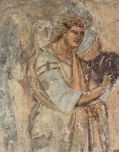 Santa Maria Antiqua, Roma. Angelo Gabriele, affresco della navata centrale, VIII sec.