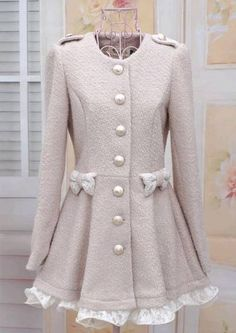 Round Neck Lace Splicing Bow Decorated Single-Breasted Coat For Women (APRICOT,S) China Wholesale - Sammydress.com