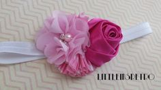Pretty in Pink Flower Cluster Headband [6-12 months] - pinned by pin4etsy.com