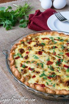 Low Carb Cheesy Italian Sausage Pepper Quiche- gluten free, grain free- sugarfreemom.com