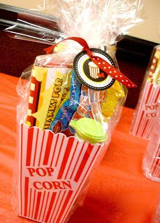 Movie themed party favors - I'll find a reason one day 13th Birthday Parties, Slumber Parties, Birthday Party Themes, 9th Birthday, Birthday Ideas, Carnival Birthday, Sleepover, Movie Theater Party, Movie Night Party