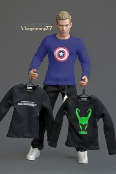Sixth scale custom T shirts inspired by Captain America Loki and Ironman