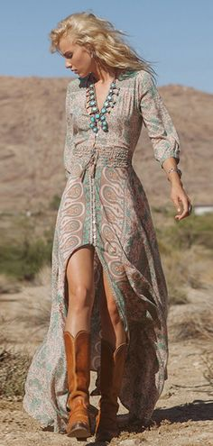 Elastic Waist Printed V-neck Maxi Dress