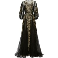 Marchesa Embroidered metallic tulle gown