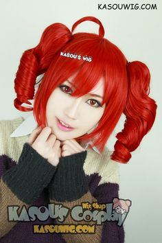 [ Kasou Wig ] SALE! 50% OFF Vocaloid Teto apple red cosplay wig with 2 curly clips . pre-styled ahoge (KA042)