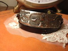 Molten Solder Stamped Skeleton  Leather Wrap by TheShabbyCalavera, $45.00