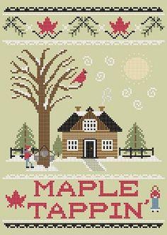 Stitcheree!: Canadian Maple Tappin' - free cross stitch pattern