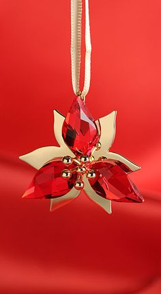 Swarovski Gold Tone Poinsettia 2014 Ornament beautiful want one for our tree..BD