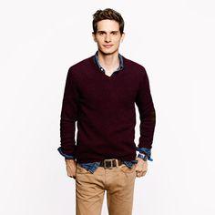 Rustic merino V-neck elbow-patch sweater