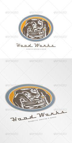 Hood Works Automotive Servicing Logo. Logo showing illustration of an automotive mechanic repairing automobile car vehicle viewed