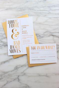 Fun + Unique Wedding Invitations | suite by The Metallic Effect | via http://emmalinebride.com/invites/unique-wedding-invitations/