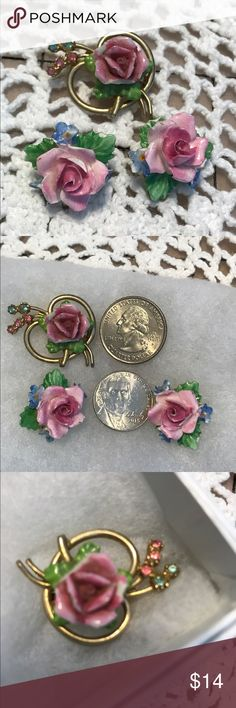 """Vintage English China Rose Earrings and Pin Coro English China clip earrings and lovely brooch. Pinks, greens and some blue. On back off earrings is """"Aynsley?? (Very hard to read) China, England"""" There is some chipping of china as can be seen in photos. Very nice set! Please check out all photos and description before making an offer. Reasonable offers concerned. Thanks for looking in my closet! ⭐️ Roni ⭐️ Coro  Jewelry Earrings"""