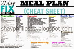 21 Day Fix EXTREME MEAL PLAN-Cheat Sheet I would love to help you reach your goals and keep you accountable! Let's do this together!!! shayphillips.bb@gmail.com facebook.com/ShayPhillips24 shayphillipsbb.blogspot.com