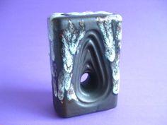 ES Keramik Mid Century Brown & Mint Green Fat Lava West German Chimney Vase