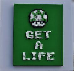 1up Mushroom - Super Mario Bros. 8 Bit Perler Sprite on Canvas. $20.00, via Etsy.