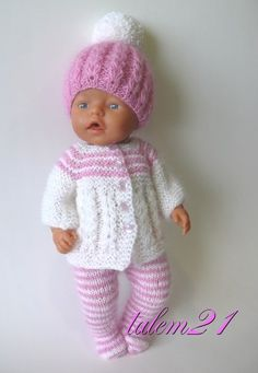 Baby Born Clothes, Girl Doll Clothes, Barbie Clothes, Girl Dolls, Baby Dolls, Knitted Doll Patterns, Knitted Dolls, Baby Knitting Patterns, Baby Patterns