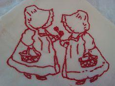 vintage tea towel embroidery