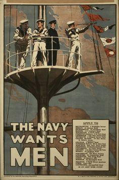 "1915 Royal Navy recruiting poster: ""The Navy Wants Men""."