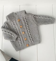 Knit Baby Sweater, Hand Knitted Grey Baby Cardigan, Gray Baby boy Clothes, New Born Baby Gift for Baby Showers, Cable Knit coat Baby Boy Sweater, Knit Baby Sweaters, Boys Sweaters, Baby Cardigan, Baby Boy Knitting Patterns, Knitting For Kids, Knitted Coat, Crochet Baby, Free Crochet