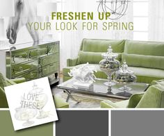 Green, Grey and White Room...LOVE these colors :D