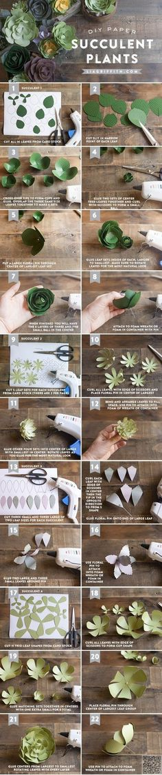 19. #Paper Succulents - So Many #Pretties! Let's All Make These Paper #Flowers Right Now ... → DIY #Peonies