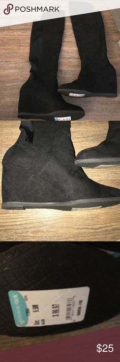 Over the knee boot Black suede over the knee wedge boot. Has some stretch in back panel. Worn once. Size 9.5 brand says sabrena fab from Nordstrom rack Shoes Over the Knee Boots