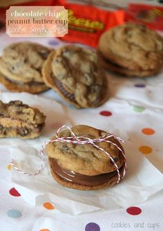 Peanut butter sandwich cookies Next time, use my own fav choc chip cookie recipe. I cut the Reese pb cups in half, that worked well. Used small pamp. chef scoop