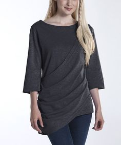 Oooh, I like this! Take a look at this Charcoal Waterfall Tunic by lur® on #zulily today!