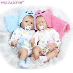 ">> Click to Buy << 22"" Lifelike Soft Vinyl Reborn Baby Twins Dolls Blue Eyes Reborn Boy Doll and Sleeping Baby Born Girl Doll for Wedding Gifts #Affiliate"