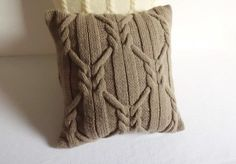 Custom Cappuccino Cable Knit Pillow Case, Throw Pillow, Contemporary Decorative Couch Pillow, Hand Knit Pillow Cover, Knit Pillow Sham Cappuccino knit pillow case hand knit cushion by Adorablewares Knitted Cushion Covers, Knitted Cushions, Hand Knitting, Knitting Patterns, Crochet Patterns, Beginner Knitting, Knitting Needles, Custom Pillows, Decorative Pillows